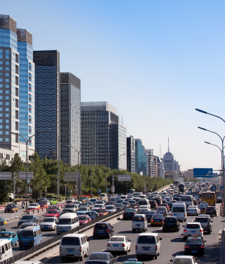 Beijing skyline and traffic jam