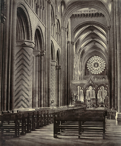 The beautiful and inspiring interior of the Durham Cathedral in England.