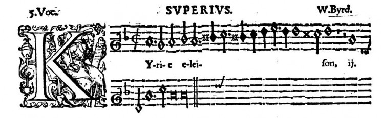 The opening of Byrd's five-voice mass.