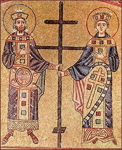 Constantine and Helena. Mosaic in Hosios Loukas. 11th century.