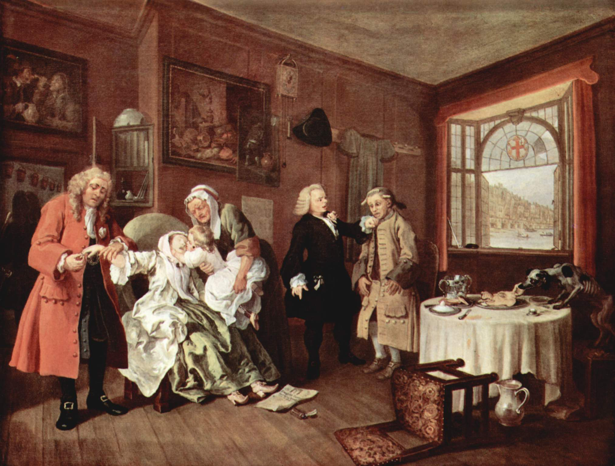 "William Hogarth (1697-1764), ""The Suicide of the Countess,"" from Marriage à la Mode, The National Gallery, London."