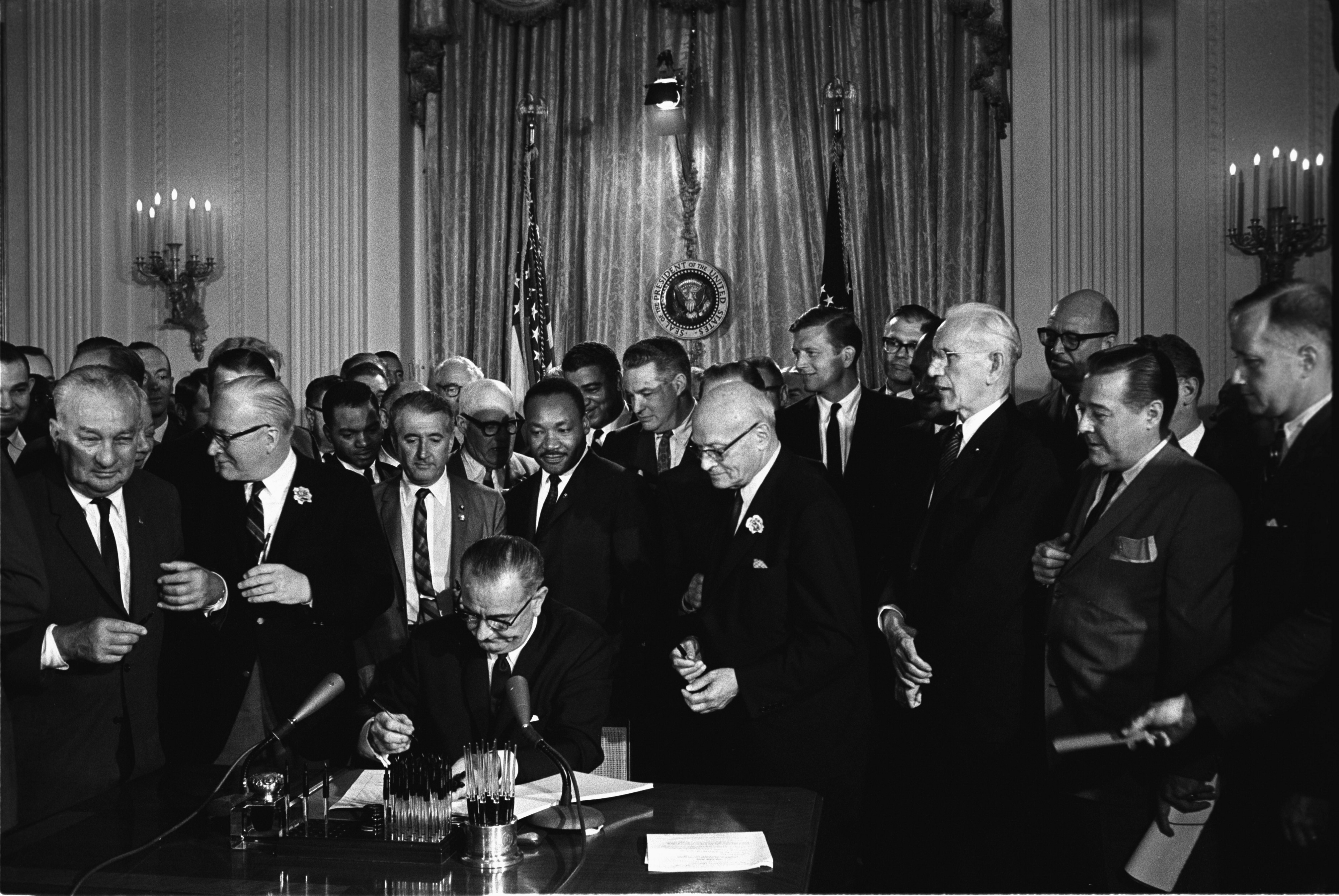 Lyndon Baines Johnson Signs the Civil Rights Act of 1964