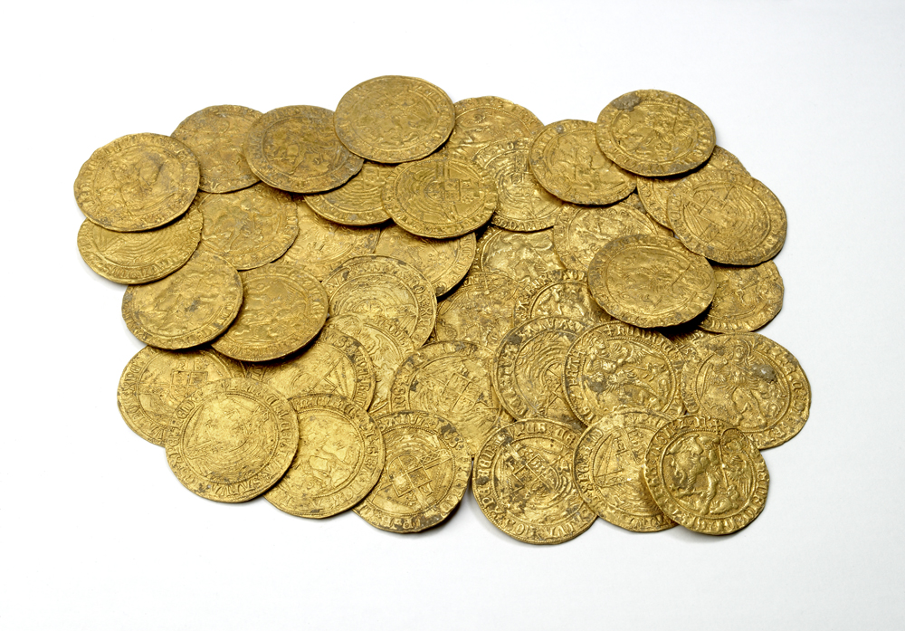 A hoard of gold angels (1470 to 1526) recently discovered in Oxfordshire.