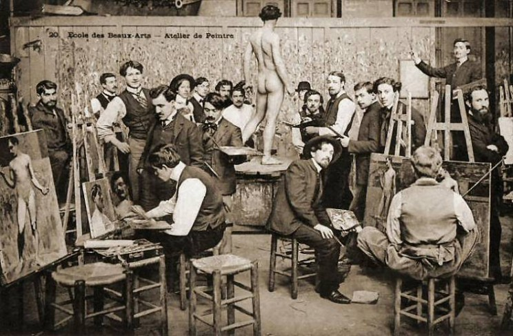 Students painting 'from life' at the École des Beaux-Arts, Paris. Late 1800s.
