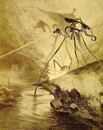 "Alien tripod illustration by Alvim Corréa, from the 1906 French edition of H.G. Wells' ""War of the Worlds"". Public domain via Wikimedia Commons."