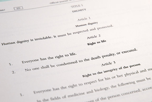 Article 2 of the Charter of Fundamental Rights of the European Union. CC-BY-SA. Photo by Trounce/Wikimedia Commons.