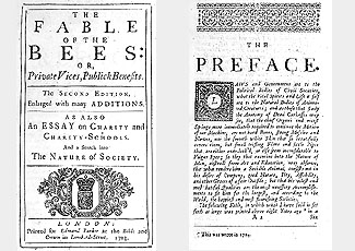 Image of the title page of the 1705 edition of Bernard de Mandeville's Fable of the Bees.