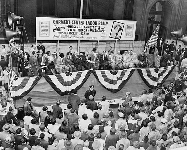 Street rally in New York City, October 11, 1955, under joint sponsorship of NAACP and District 65, Retail, Wholesale and Department Store Workers Union in protest of slaying of Emmett Till. Public domain via Library of Congress.