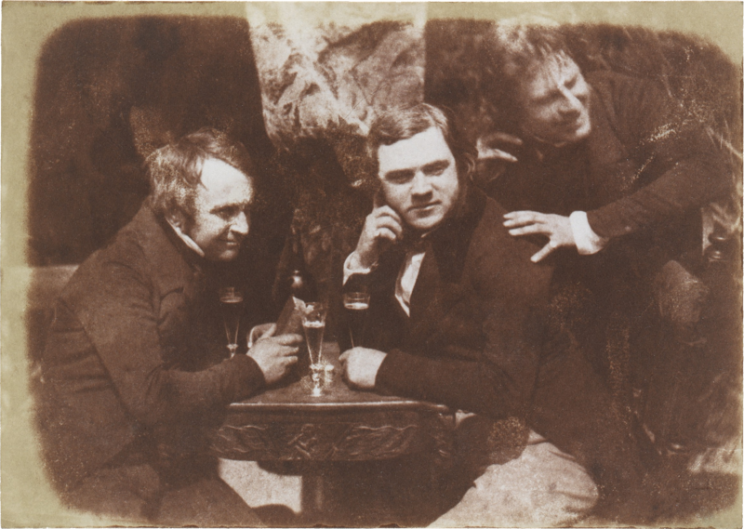 Perhaps the first photograph of men drinking beer, circa 1844 in Scotland