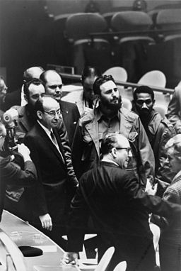 Fidel Castro, president of Cuba, at a meeting of the United Nations General Assembly, 22 September 1960. Photo by Warren K. Leffler for the U.S. News and World Report. Public domain via Wikimedia Commons.