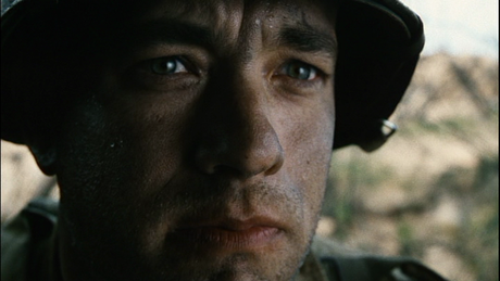 Extreme close-up of Tom Hanks in 'Saving Private Ryan' (c. DreamWorks 1998)
