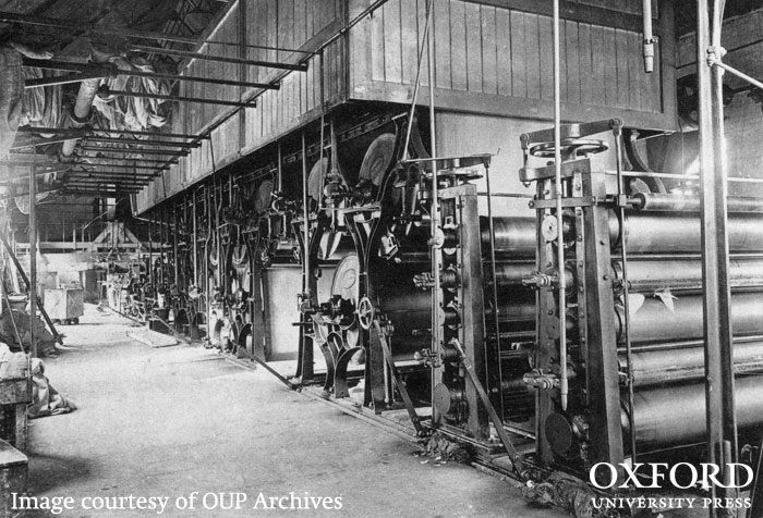 Fourdrinier paper-making machine in Wolvercote Mill in the late 19th century. From The History of Oxford University Press.