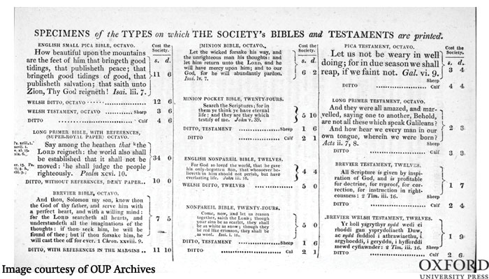 Variety of typefaces and sizes used in BFBS bibles and new testaments 'Reports of the British and Foreign Bible Society; with Extracts of Correspondence', fifth volume for the years 1818 and 1819 (By kind permission of Cambridge University Library, 215 x 130 mm).
