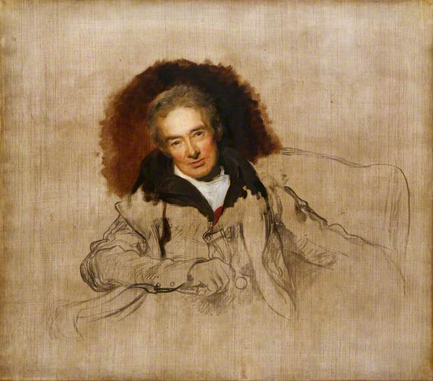 Unfinished portrait of the MP and abolitionist William Wilberforce by the English artist Thomas Lawrence, dated 1828. National Portrait Gallery, London.