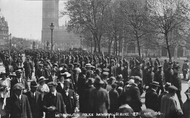 Fallen London Police, 17 May 1919 in Parliament Square. CC BY-SA Leonard Bentley via Filckr