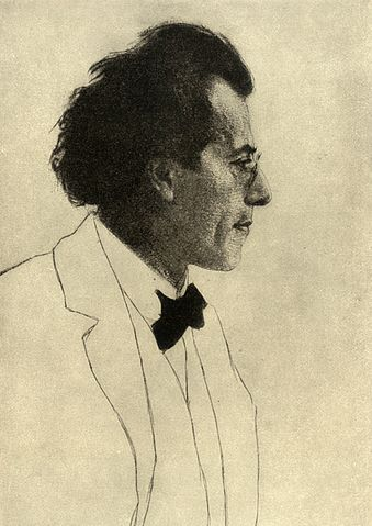 Gustav Mahler, photo of the etching by Emil Orlik (1903), in the Groves Dictionary and New Outlook (1907). Collections Walter Anton. Public domain via Wikimedia Commons
