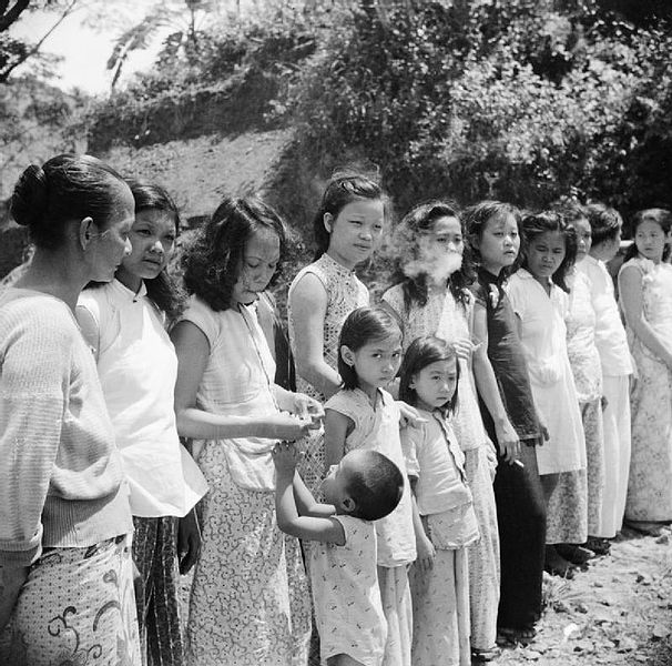 Chinese and Malayan girls forcibly taken from Penang by the Japanese to work as 'comfort girls' for the troops. The Allied Reoccupation of the Andaman Islands, 1945. Lemon A E (Sergeant), No 9 Army Film & Photographic Unit. War Office, Central Office of Information and American Second World War Official Collection. Imperial War Museums. IWM Non Commercial Licence.