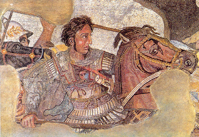 Detail of the Alexander Mosaic, representing Alexander the Great on his horse. Public Domain via Wikimedia Commons.