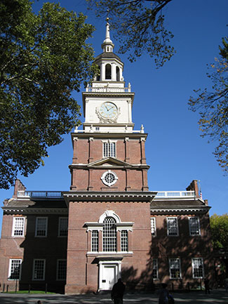 The clocktower at Independence Hall. Philadelphia, PA by Captain Albert E. Theberge, NOAA Corps (ret.) (NOAA Photo Library: amer0024). CC-BY-2.0 via Wikimedia Commons.
