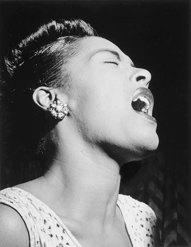 Billie Holiday by William P. Gottlieb. Public domain via Wikimedia Commons.