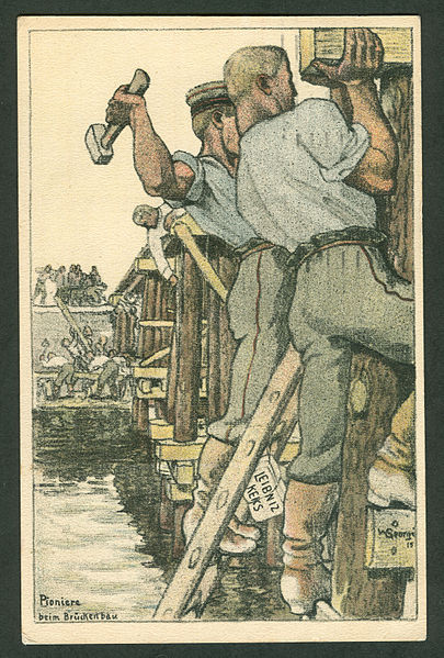 Walter Georgi, Engineers Building a Bridge, 1915. Color lithographic postcard (Feldpostkarte) designed for the H. Bahlsen Keksfabrik, Hannover. Public domain via Wikimedia Commons.