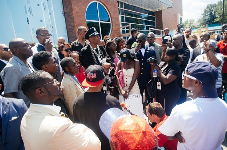 Protest at Ferguson Police Dept, by
