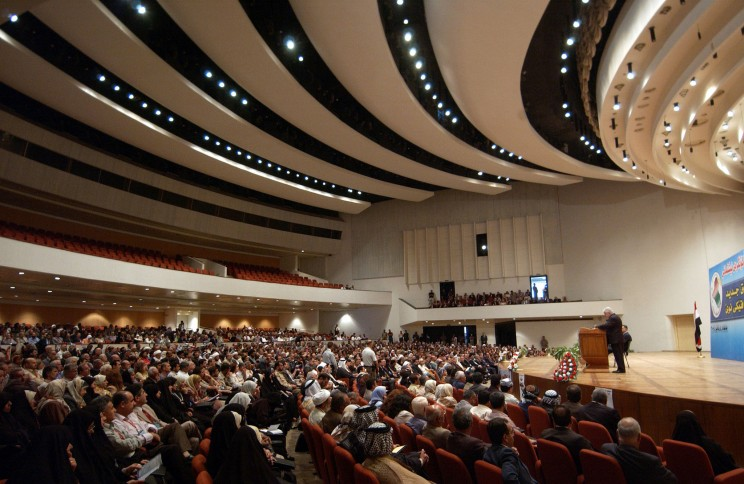 Inside of the Baghdad Convention Center, where the Council of Representatives of Iraq meets. By James (Jim) Gordon. CC BY 2.0 via Wikimedia Commons.