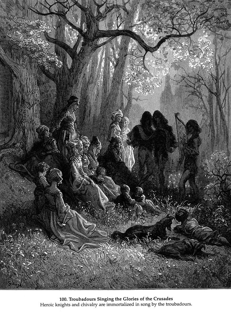 Troubadours singing the glory of the Crusades. Illustration by Gustave Dore. Public domain via WikiArt.