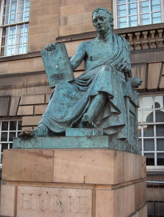 Statue of David Hume, Edinburgh, by TwoWings. Public domain via Wikimedia Commons.