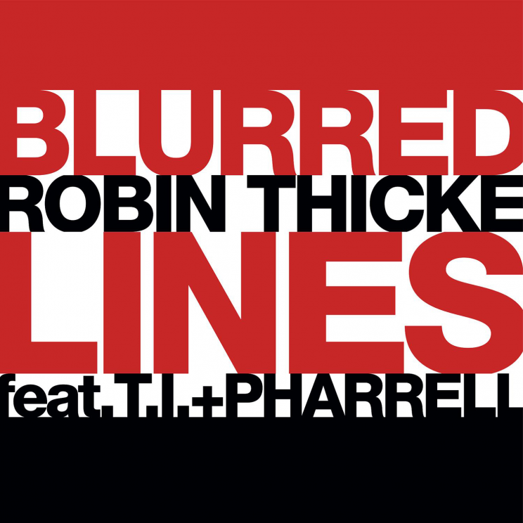Single cover for Blurred Lines by Robin Thicke featuring T.I. and Pharrell. Public Domain via Wikimedia Commons.