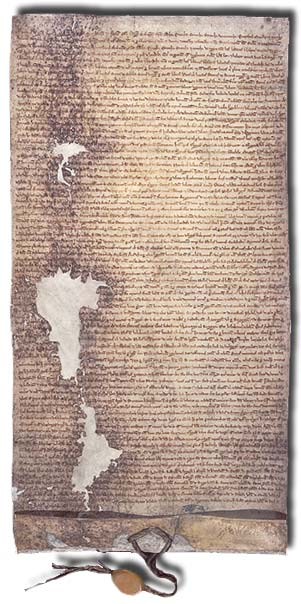 The 1225 version of Magna Carta issued by Henry III of England. This copy is in the National Archives (London), DL 10/71.