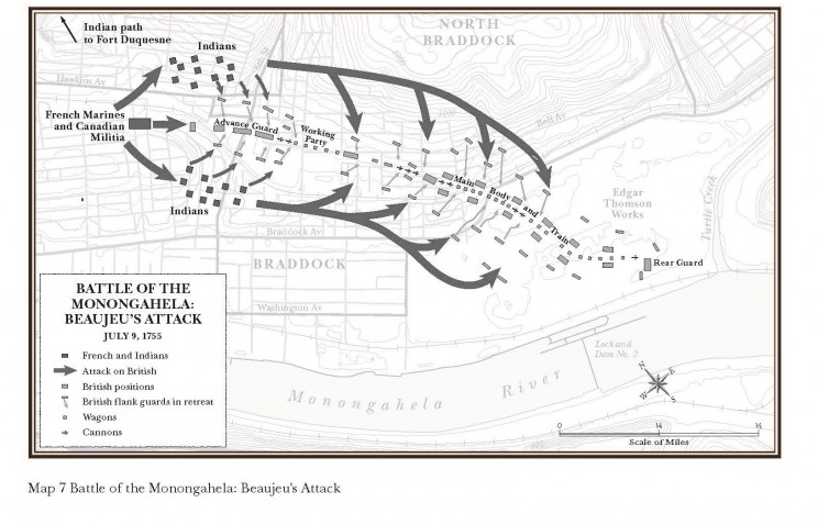 Battle of the Monongahela: Beaujeu's Attack.  Author map, courtesy of Mapping Specialists, Ltd.