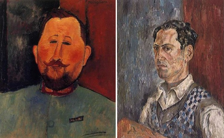 Left: Amedeo Modigliani: Doctor Devaraigne, oil on canvas, 1917. Private Collection, image in the Public Domain. Right: George Gershwin: Self-Portrait. Library of Congress, Special collections of the Music Division