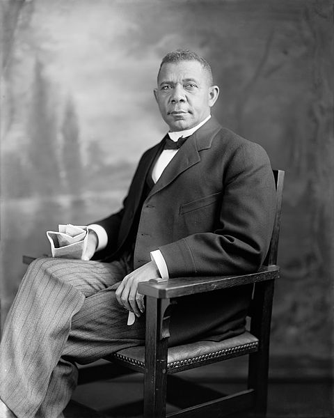 Photograph of Booker T. Washington taken sometime between 1905 and 1915 from the Harris & Ewing Collection at the Library of Congress. Public domain via Wikimedia Commons.