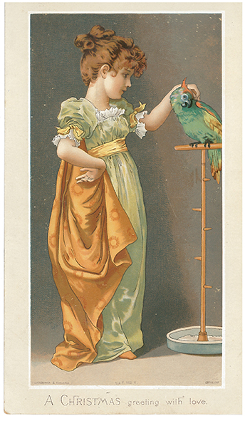 Figure 3. Alice Havers, 'A Christmas Greeting with Love', Hildesheimer & Faulkner, 1881.