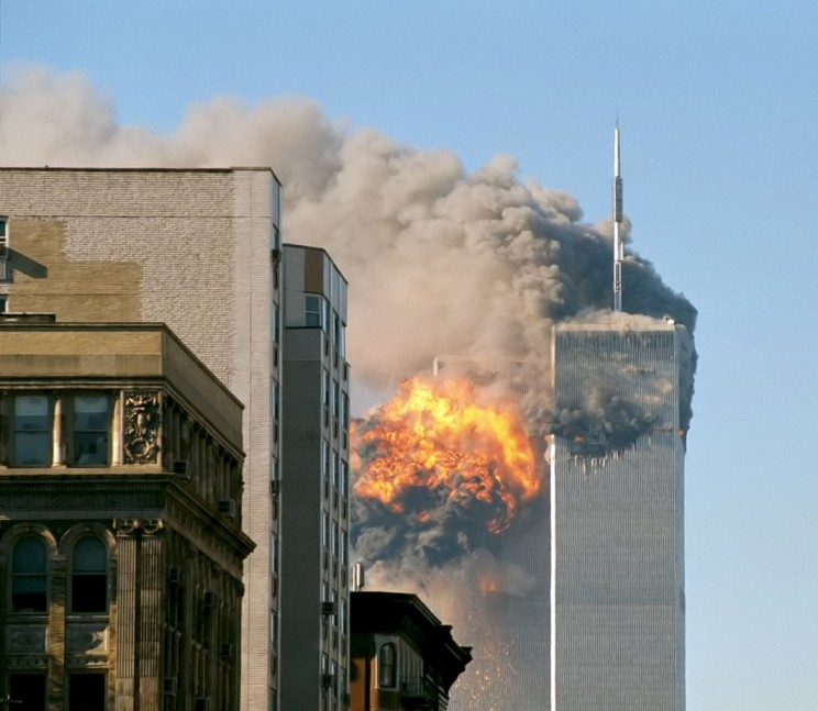 United Airlines Flight 175 crashes into the south tower of the World Trade Center complex in New York City during the September 11 attacks. Among the hijackers were an elementary school teacher, an architect and a law student. Image Creative Commons license via Wikimedia Commons.
