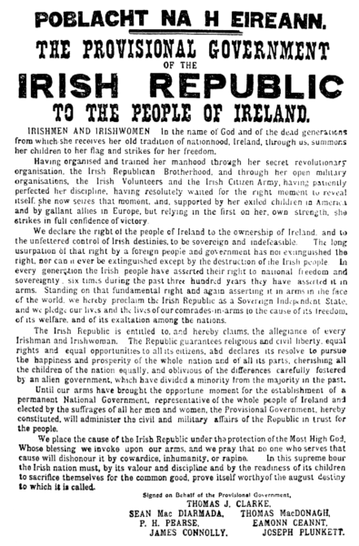 The Easter Proclamation of 1916. Public Domain via Wikimedia Commons.
