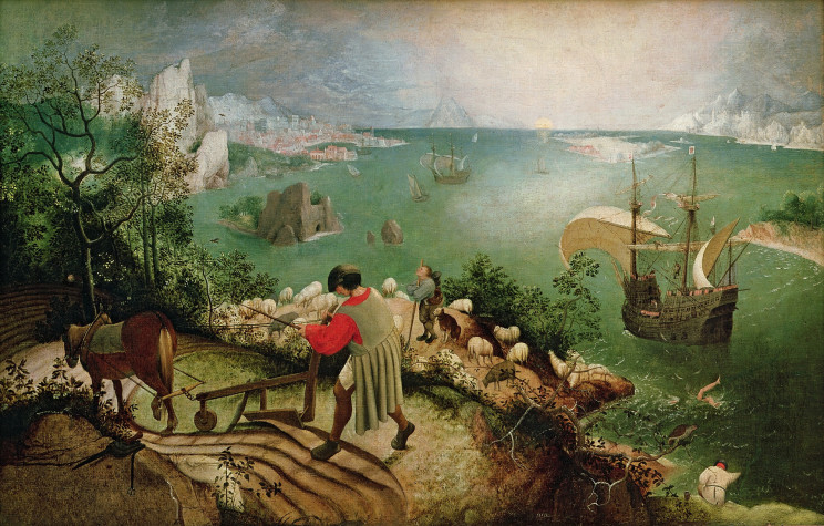 Landscape with the Fall of Icarus by Pieter Bruegel de Oude (1526/1530 - 1569). Public domain via Wikimedia Commons.