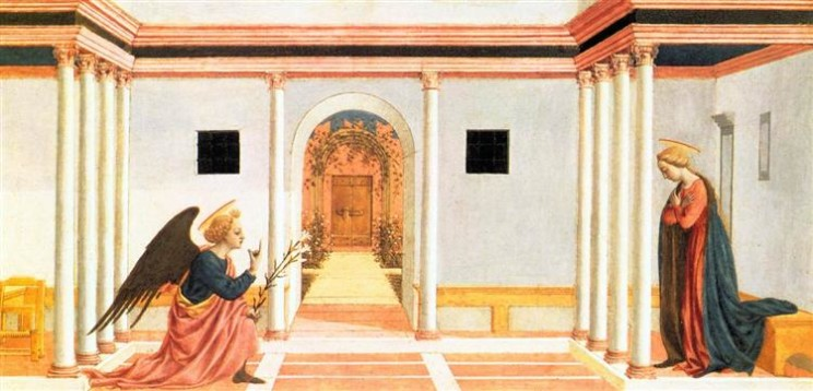 The Annunciation, predella panel from the St. Lucy Altarpiece by Domenico Veneziano (1442-1445). Public domain via WikiArt.