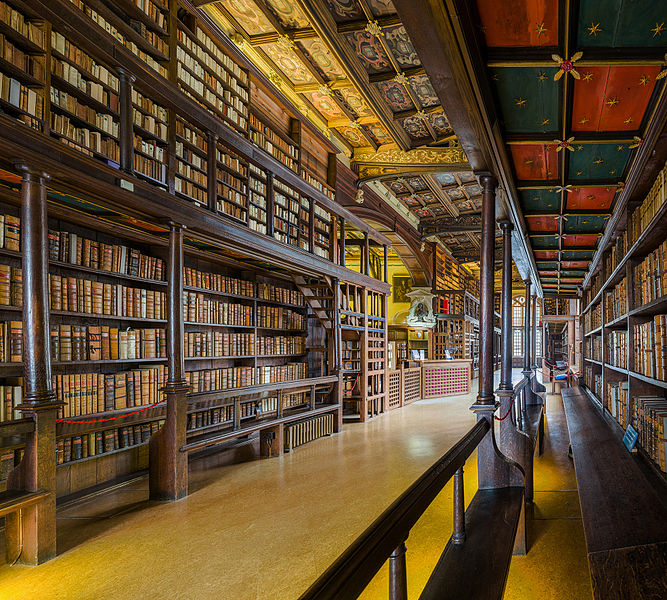 The interior of Duke Humphrey's Library, the oldest reading room of the Bodleian Library in the University of Oxford where the library scenes in the movies were filmed.