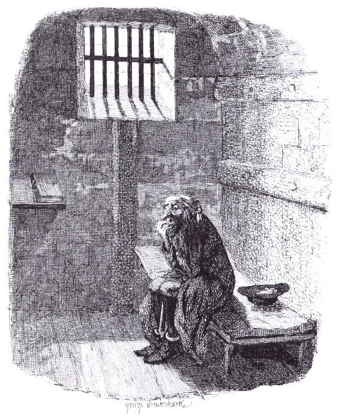 This is Fagin, the notorious fence in Dickens's Oliver Twist. They are now in prison never to leave it.