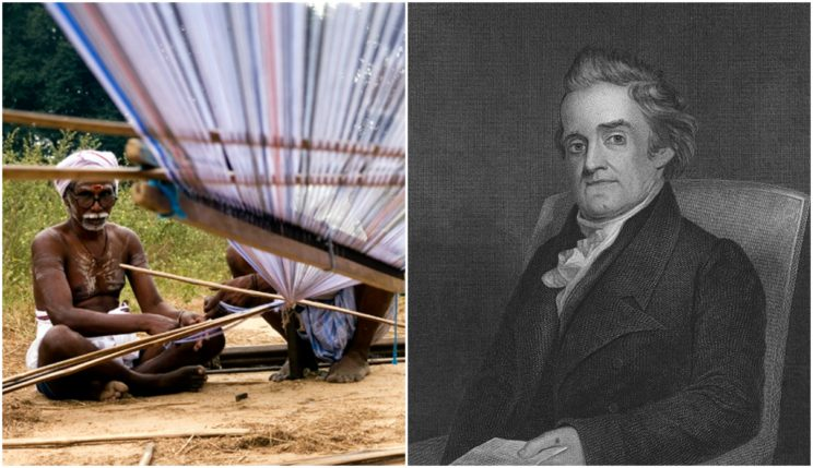 "Observe a weaver and a loom on the left. On the right is our hero, Noah Webster. His family name means ""weaver."""