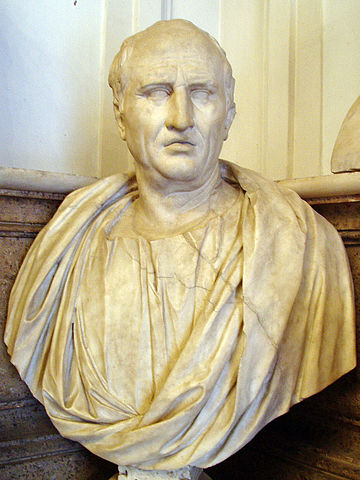 Bust of Cicero, Musei Capitolini, Rome, Half of 1st century AD. Photo by Glauco92. CC BY-SA 3.0 via Wikimedia Commons.