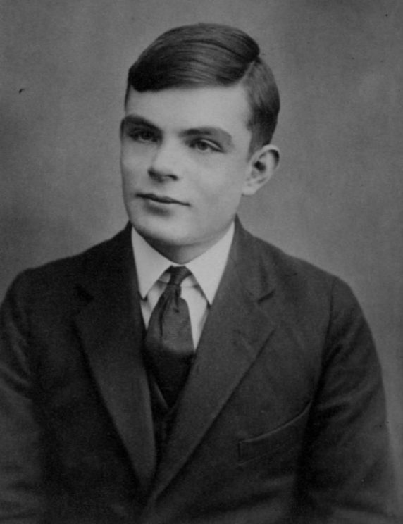 Alan Turing, aged 16 by unknown. Public domain via Wikimedia Commons.
