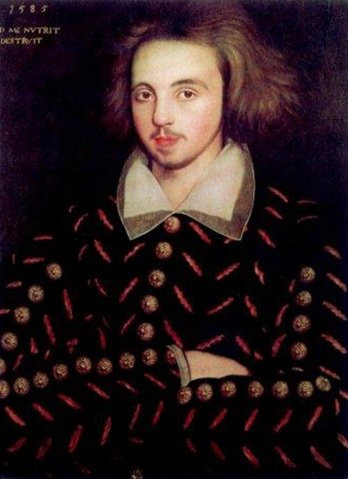Unidentified Corpus Christi student assumed to be Christopher Marlowe. Public Domain via Wikimedia Commons.