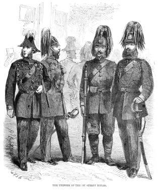 Vintage engraving from 1861 of Uniform of the 1st Surrey Rifles from the British Army