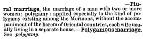 """... entry defining plural marriage, both """"among the Mormons"""" and in """"Oriental countries"""" (a reference not to the Far East, but to Islam), via Dennis Baron."""