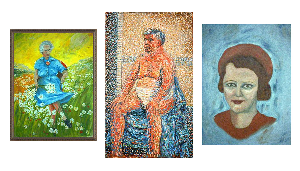 "From the Museum of Bad Art: ""Lucy in the Field With Flowers"" ; ""Sunday on the Pot with George"" ; ""Eileen"" by R Angelo Le (GNU Free Documentation License via Wikimedia Commons)."