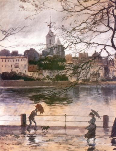 Ray Embankment in Basel in the rain by Alexandre Benois, 1896