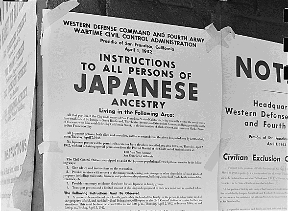 Exclusion order to direct Japanese Americans in San Francisco to evacuate.